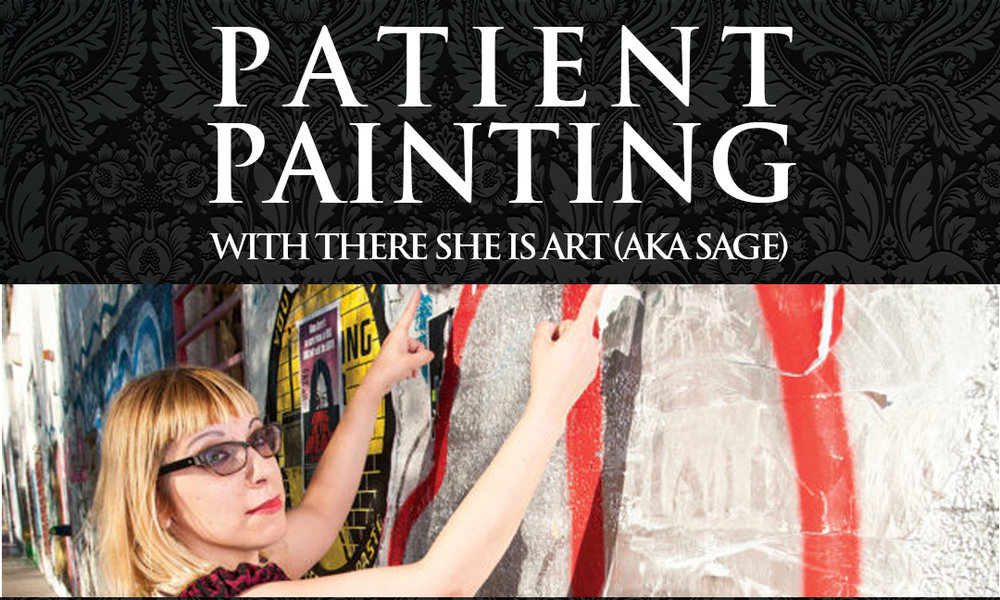 the apothecarium las vegas a medical cannabis dispensary is hosting patient painting, with local artist there she is art