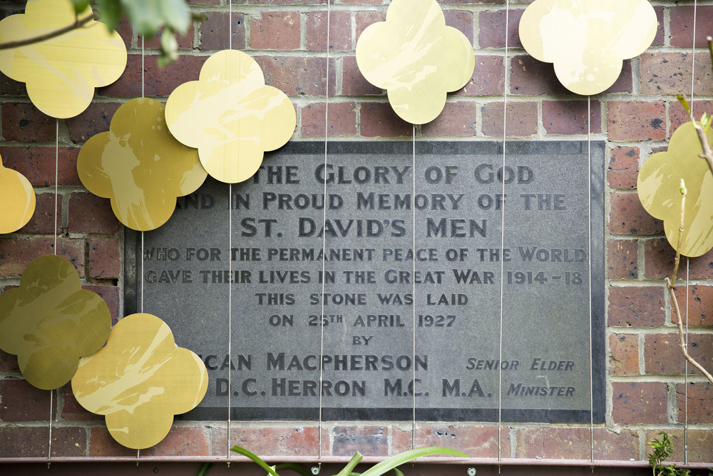 Wall plaque at St David's church