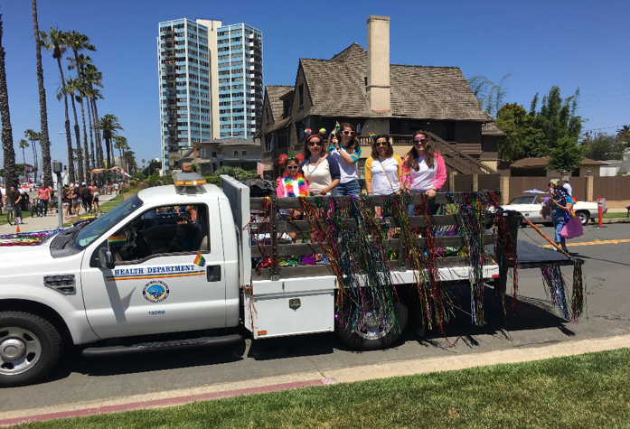 Long Beach, California, Department of Health & Human Services preparing for the Pride parade.