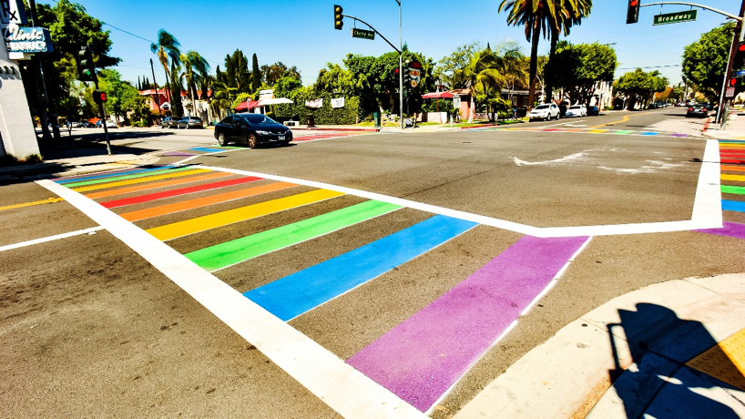Rainbow crosswalk in Long Beach, California