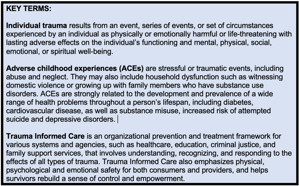 Sources:  SAMHSA-HRSA  ,  SAMHSA ,  The Trauma Informed Care Project