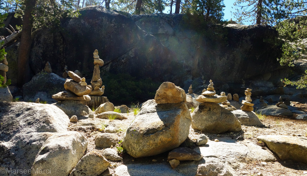 During our first day of camping we noticed our campgrounds had an amazing rock garden! People just keep adding more to all these balancing rocks! One was even taller than me!