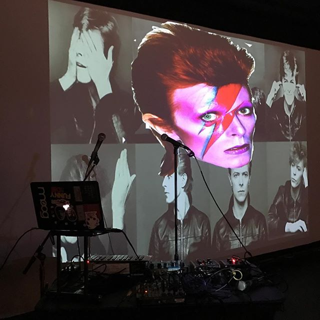 """Hey Babe, Let's stay out tonight."" @davidbowie @moogmusicinc #chscomedyfest #chslaughs two more shows tonight at 8pm and tomorrow at 8pm!"