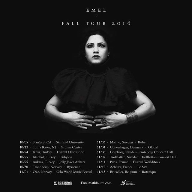 Fall tour dates with @emelmathlouthi starting tonight in Stanford. Can't wait to see you all on the road!