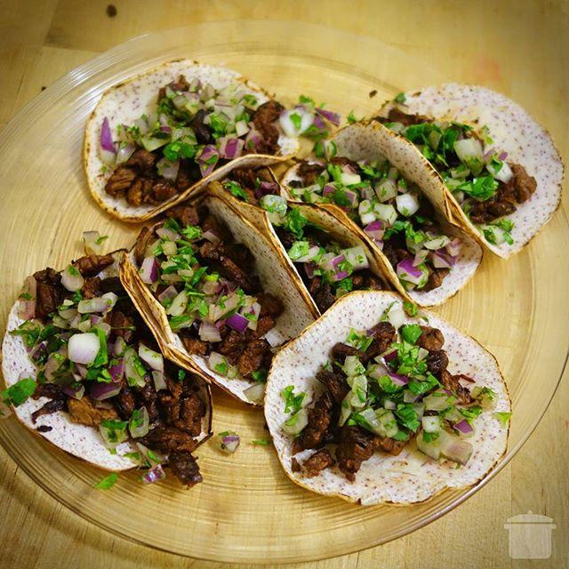 Carne Asada Street Tacos with Taro Tortillas · · ·  #cookuary #grassfed #carneasada #glutenfree #cornfree #soyfree #organic #paleo #primal #jerf #tacos #streettacos #local #farmersmarket #safestarch #teamtaro