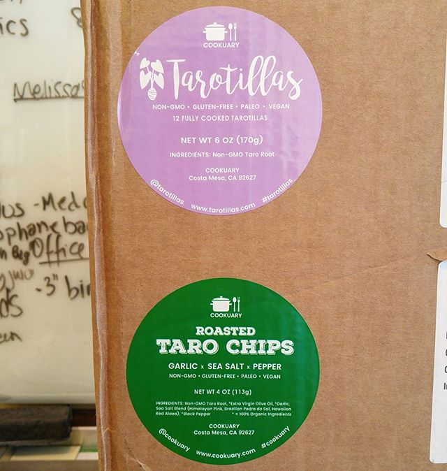 Super excited that my new labels just showed up for my Roasted Taro Chips and brand-new Tarotillas! Huge thanks to @fetoonee for all the branding and design help! #cookuary #tarotillas #tarochips