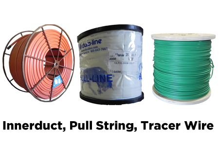 HDPE Innerduct, Plenum + Riser Innerduct, Pull String/Mule Tape, Plugs, Couplings, Tracer Wire, MaxCell.