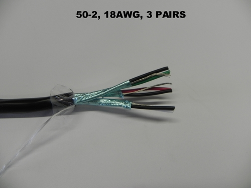 50-2, 18AWG STR, 3 PAIRS, (PAIRS INDIVIDUALLY SHIELD WITH A DRAIN)