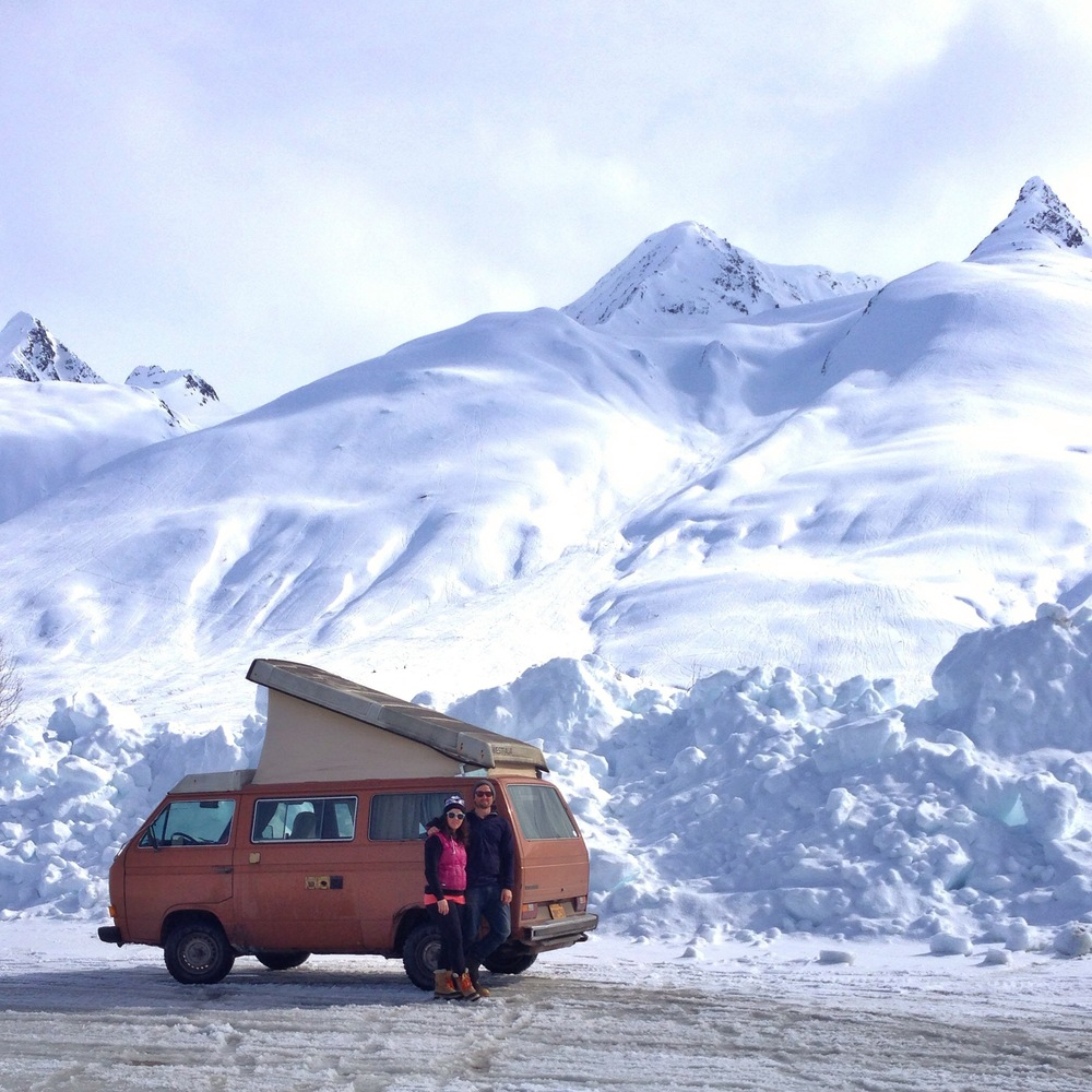 The vanagon and us up in Thompson pass