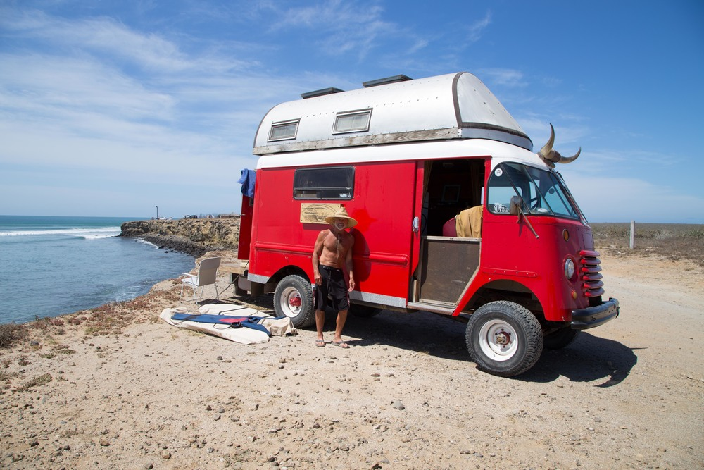 Glenn Horn, a Baja legend has been living down in Baja for many years after selling a surf shop in San Diego. He repaints his 50's 4x4 van every few years, it is quite the adventure mobile.