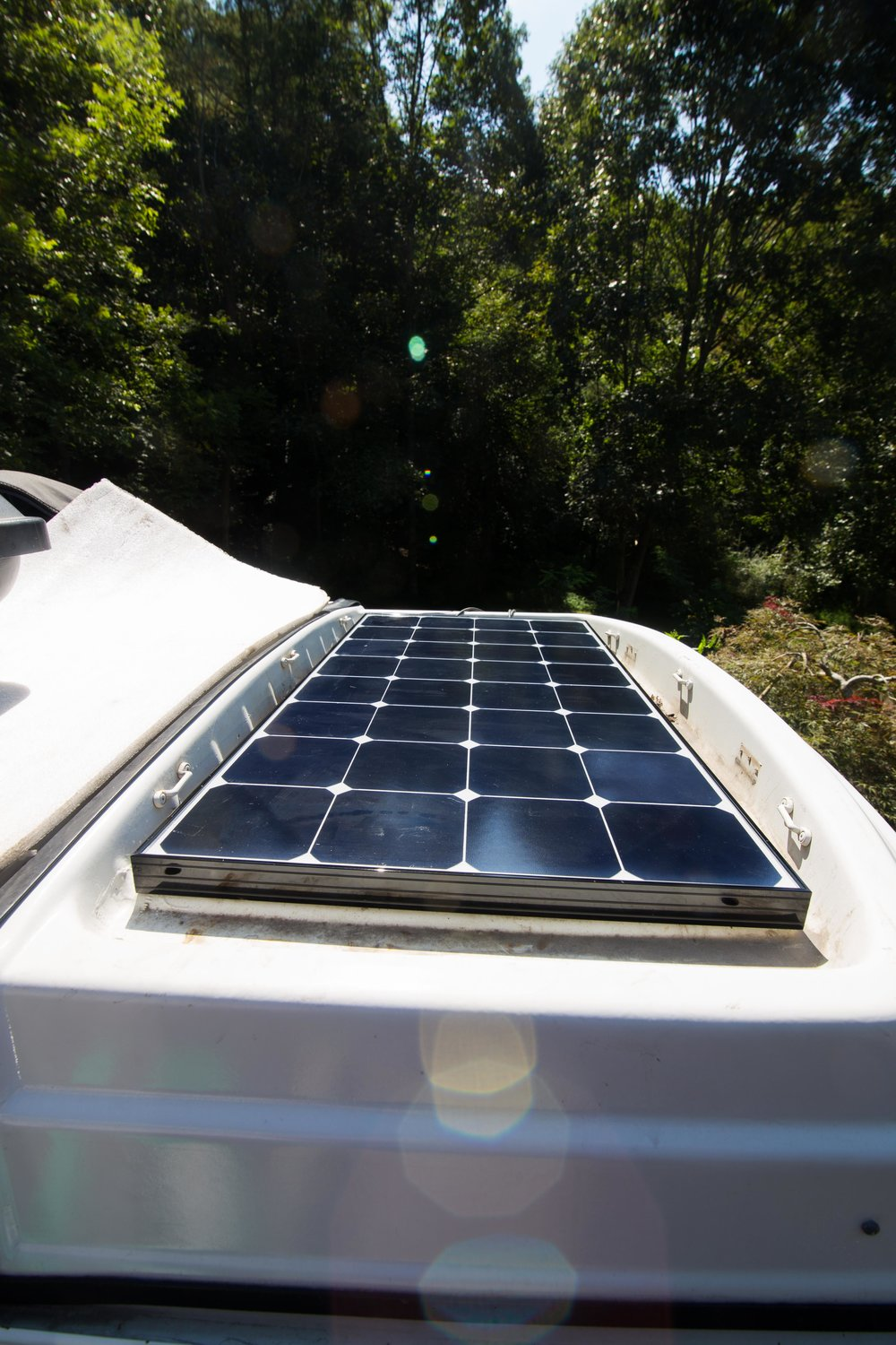 You can see here how one panel fits perfectly inside of the luggage rack. 100 Watts, getting power all the time!