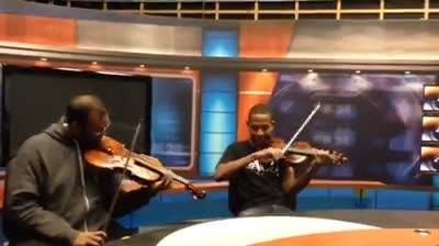 Josh and Mikael Messing around in the Television Studio on Southern States Tour