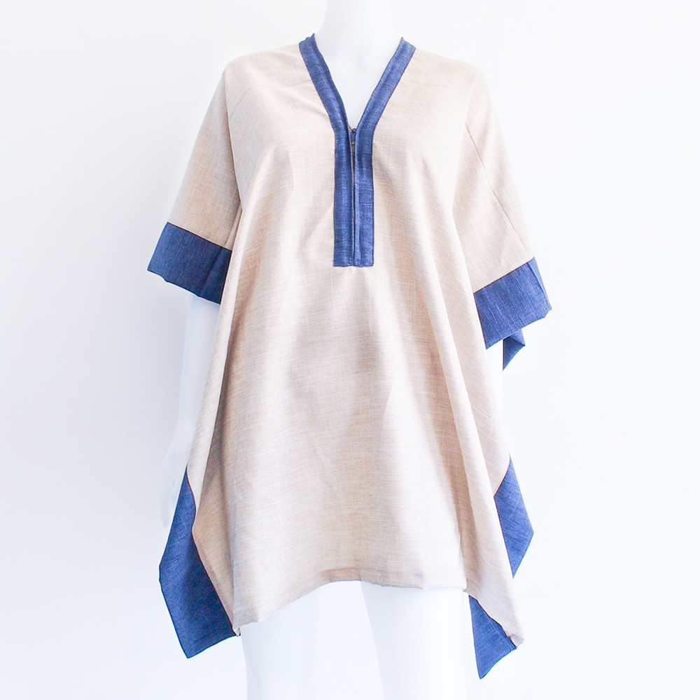 Terra - Two-way Poncho (Sand/Navy)