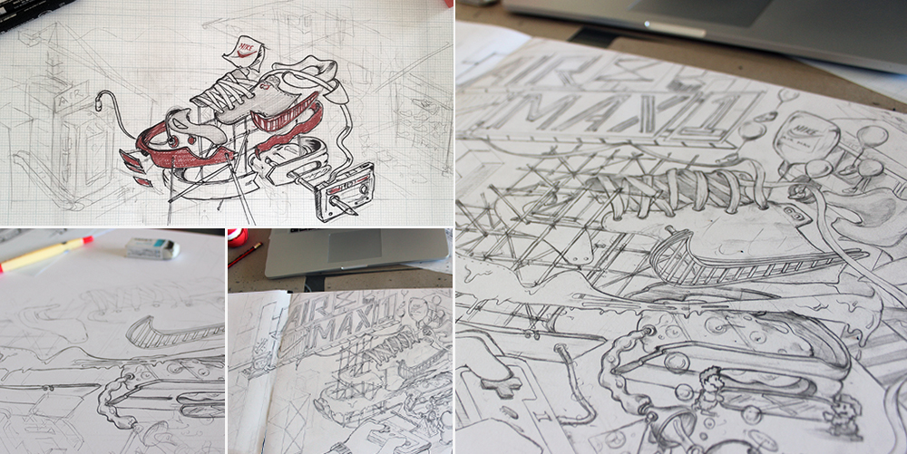 Initial concept sketches and key outline