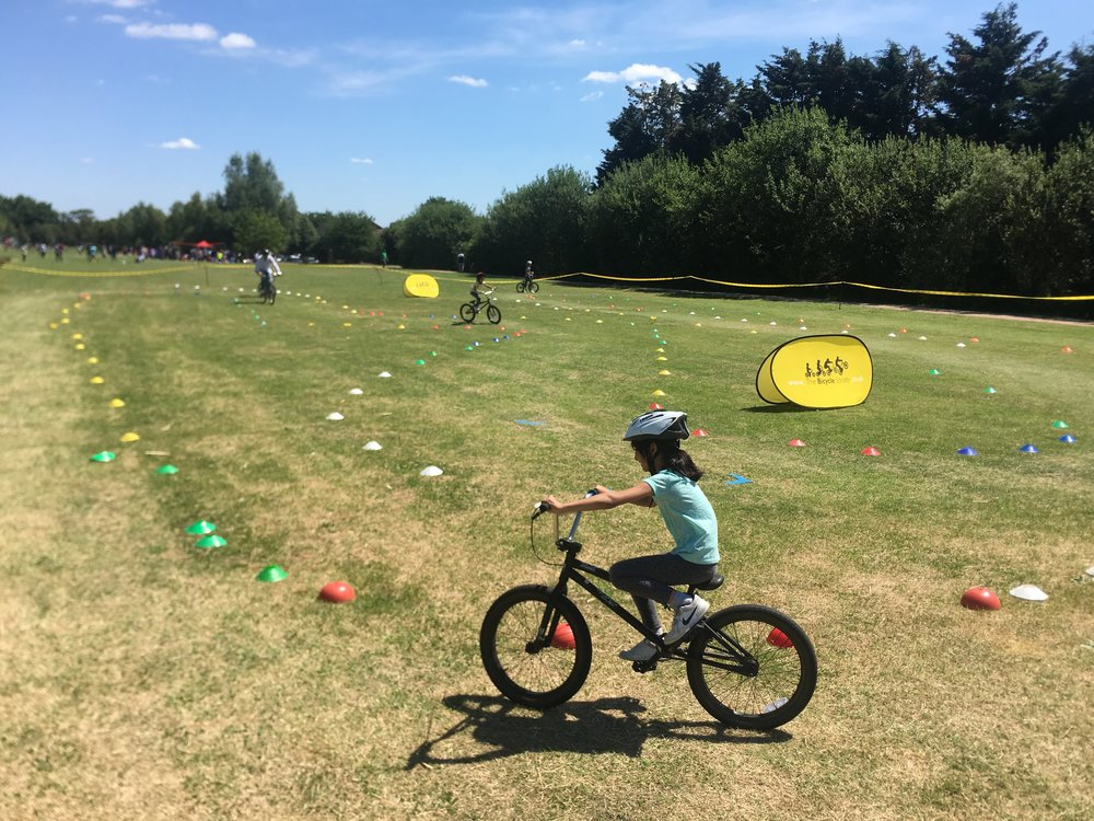 Pop-up BMX track and coaching session on a summers day