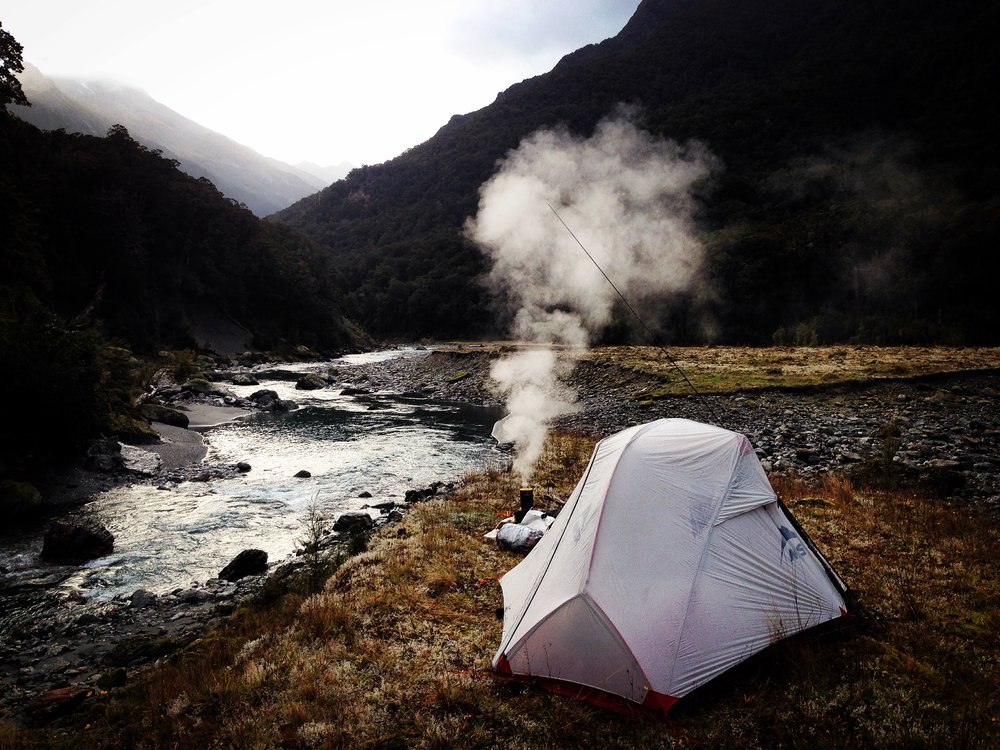 Back country fly fishing New Zealand camping