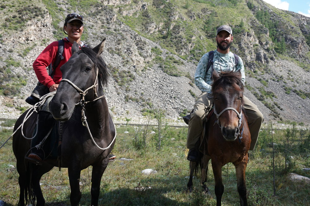 Fly fishing guides Jeff Forsee and Tulga on a headwaters expedition in Mongolia.