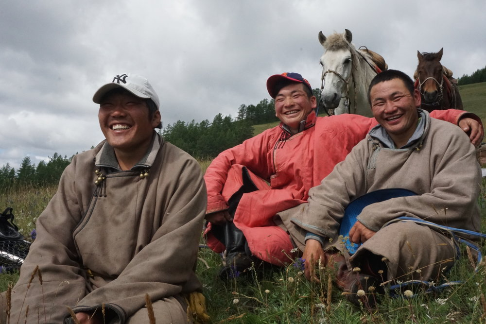 Mongolian herders on the expedition trip.