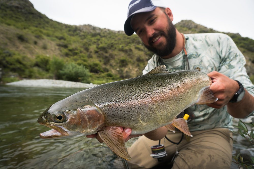 Fly fishing guide Jeff Forsee with a big New Zealand rainbow trout