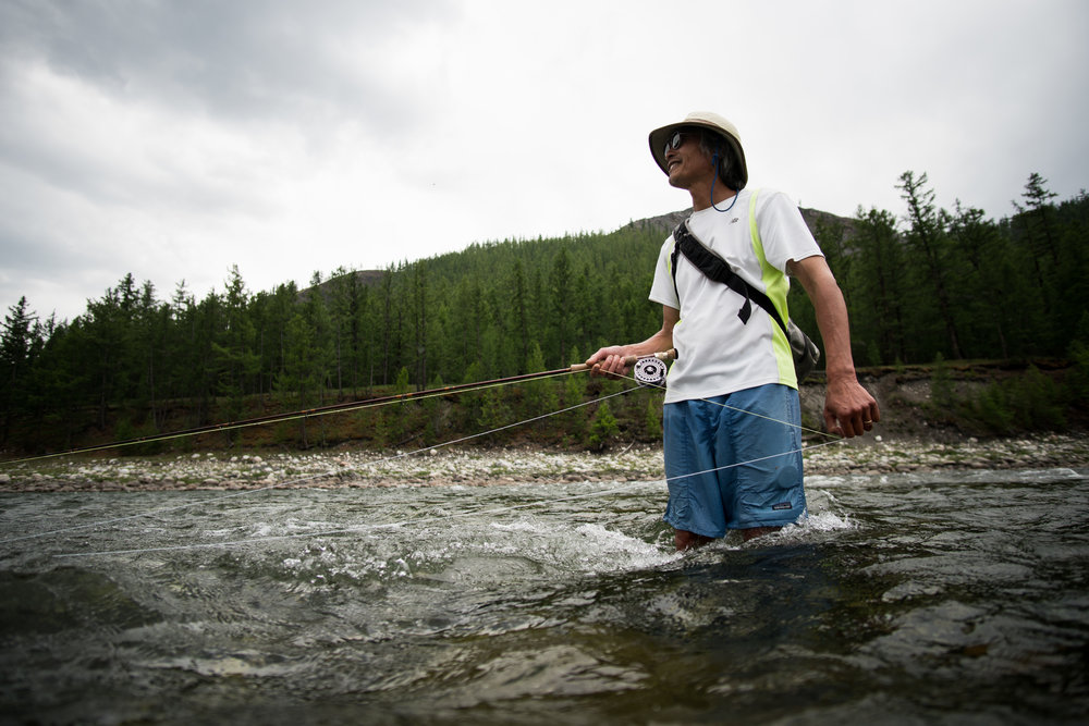 Peter Fong fly fishing for taimen and lenok