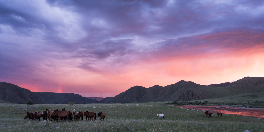 Mongolia sunset float trip