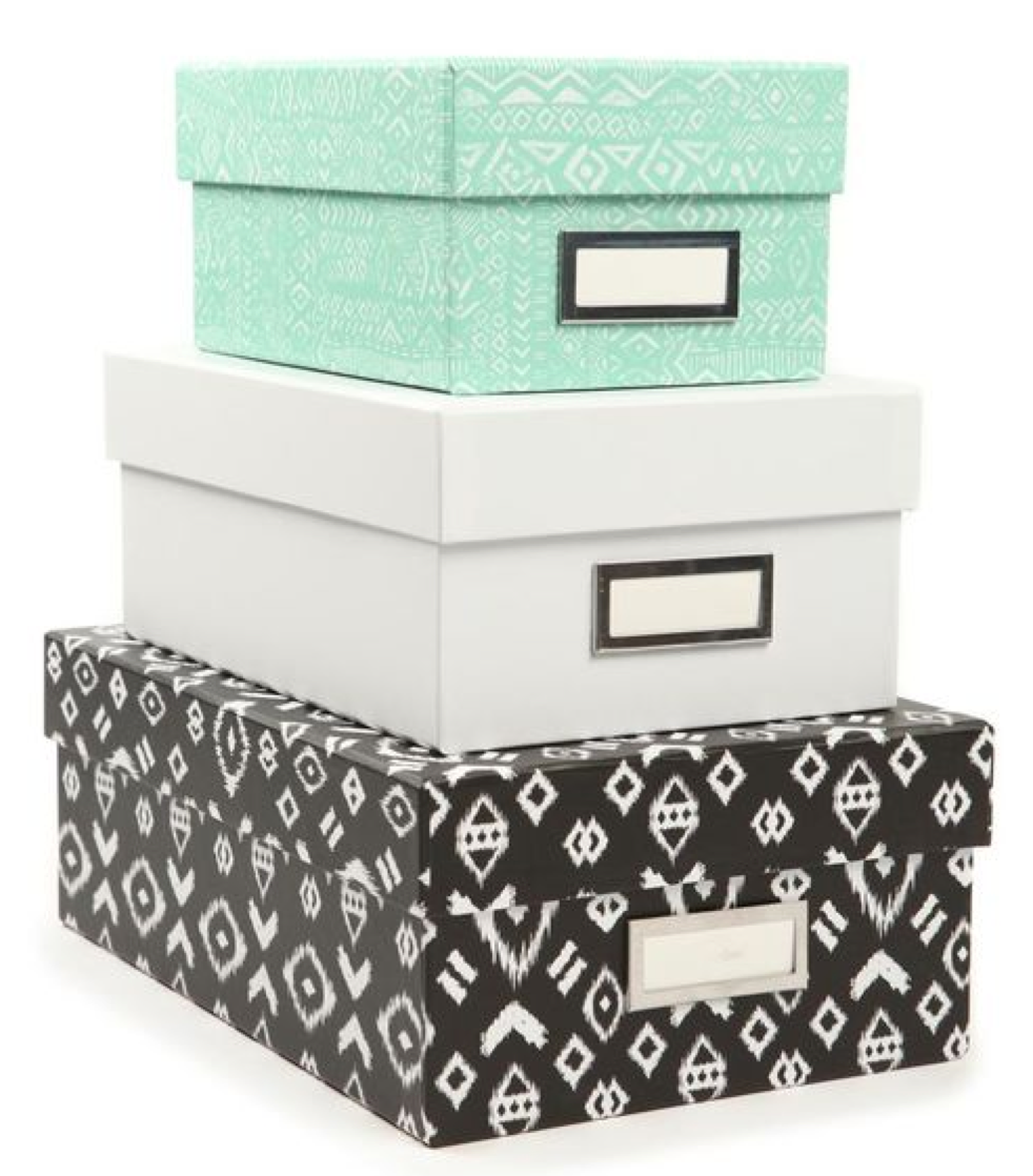Storage boxes ( similar here from Typo ) - extra camera lenses, lighting equipment and spare cords