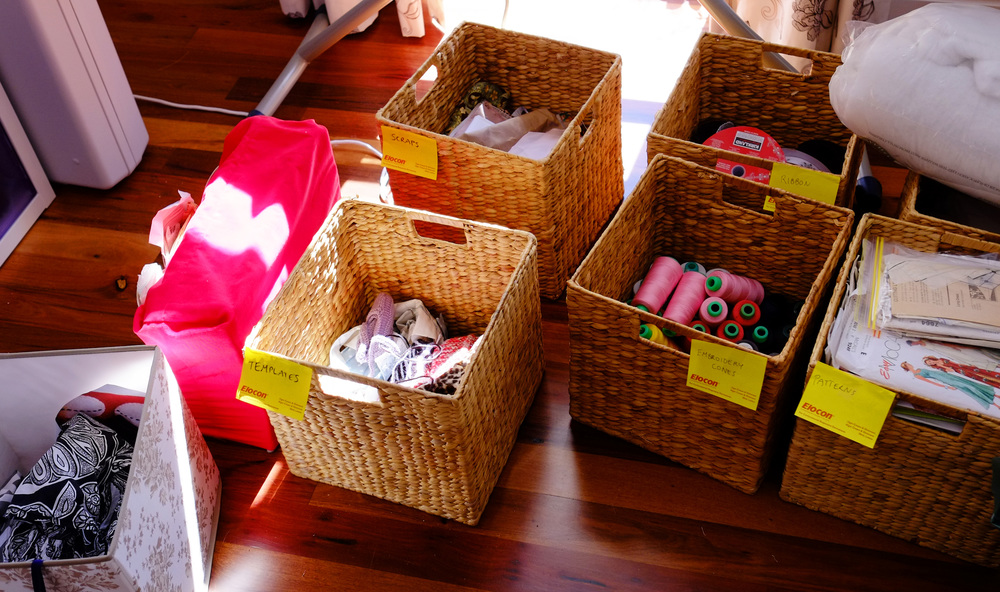 sorting materials into baskets