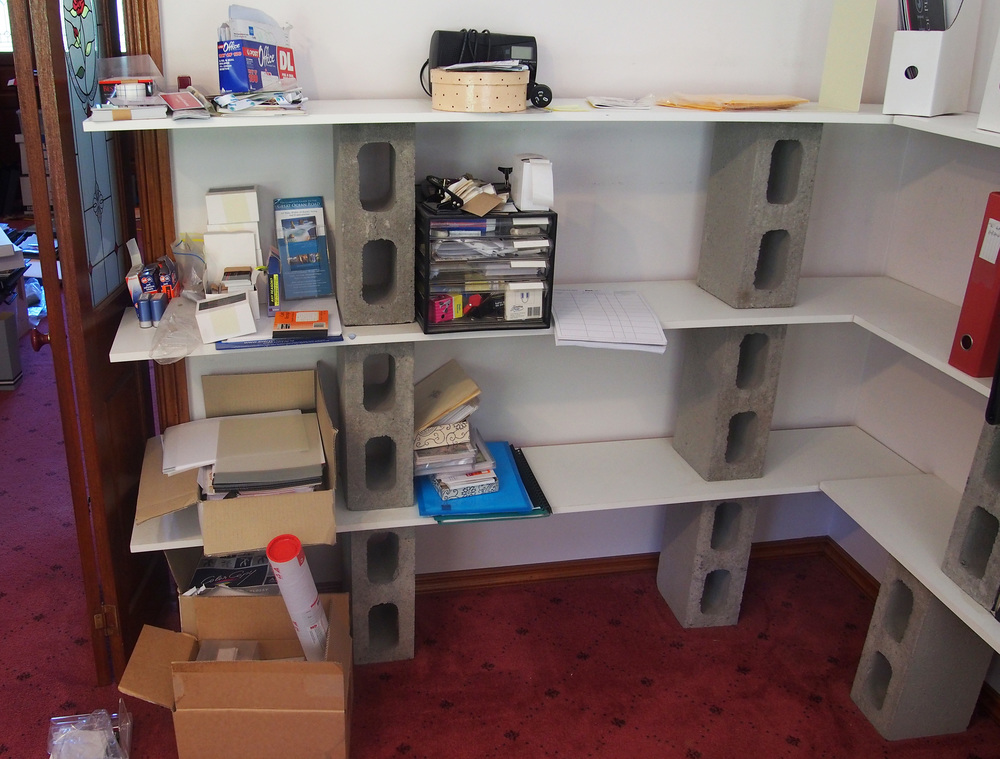 clearing home office shelves