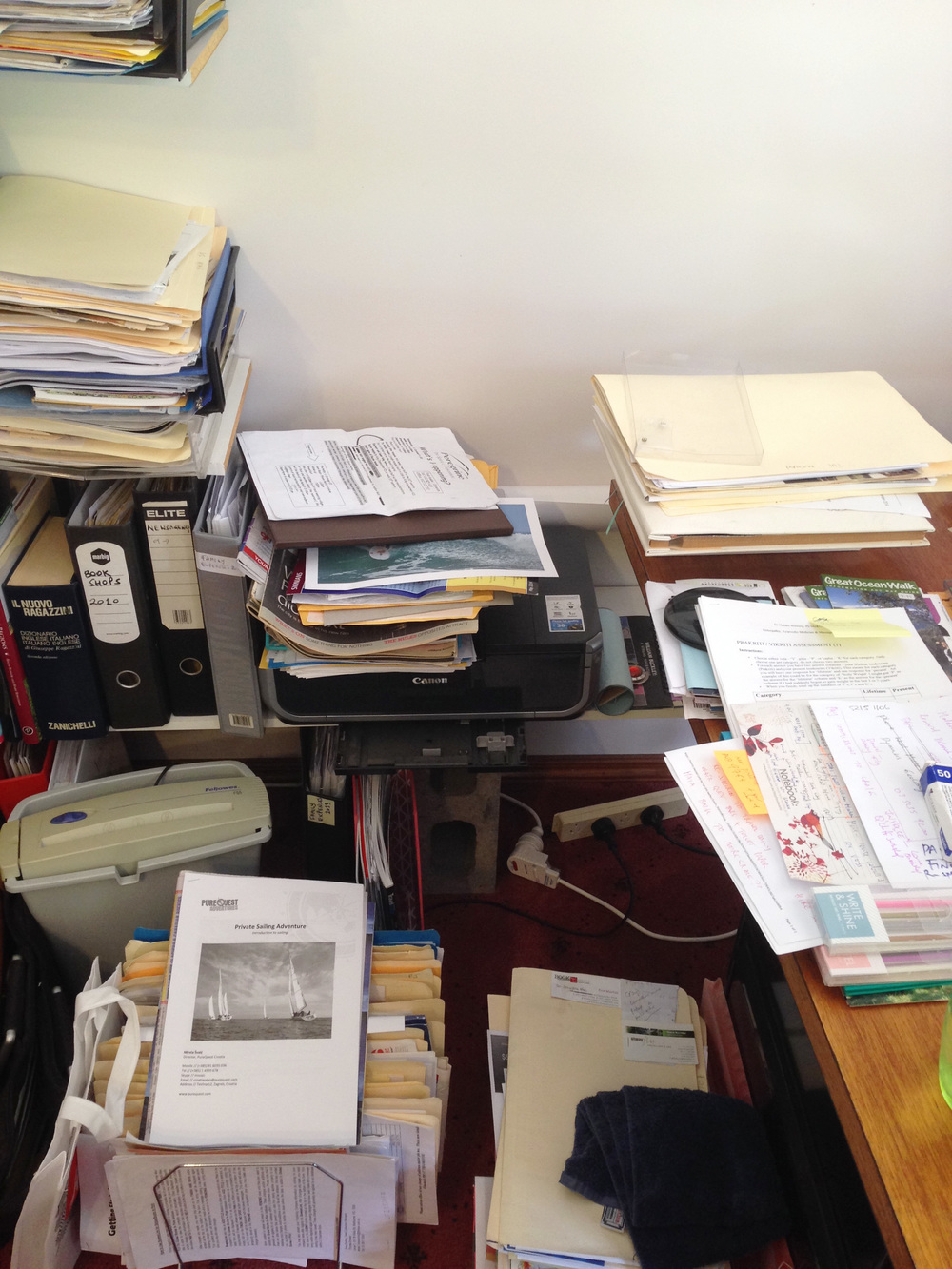 disorganised desk area