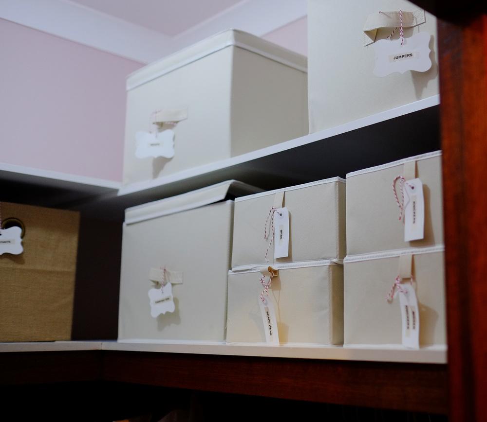organised storage boxes
