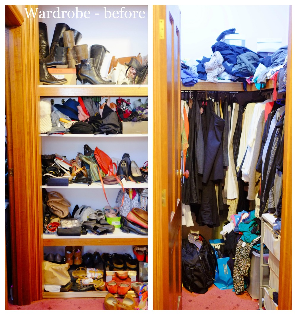 disorganised closet space