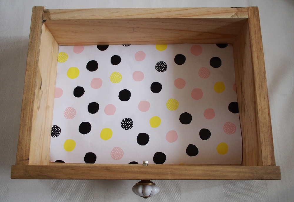 lining drawer with decorative paper