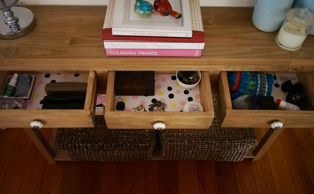 console with lined drawers