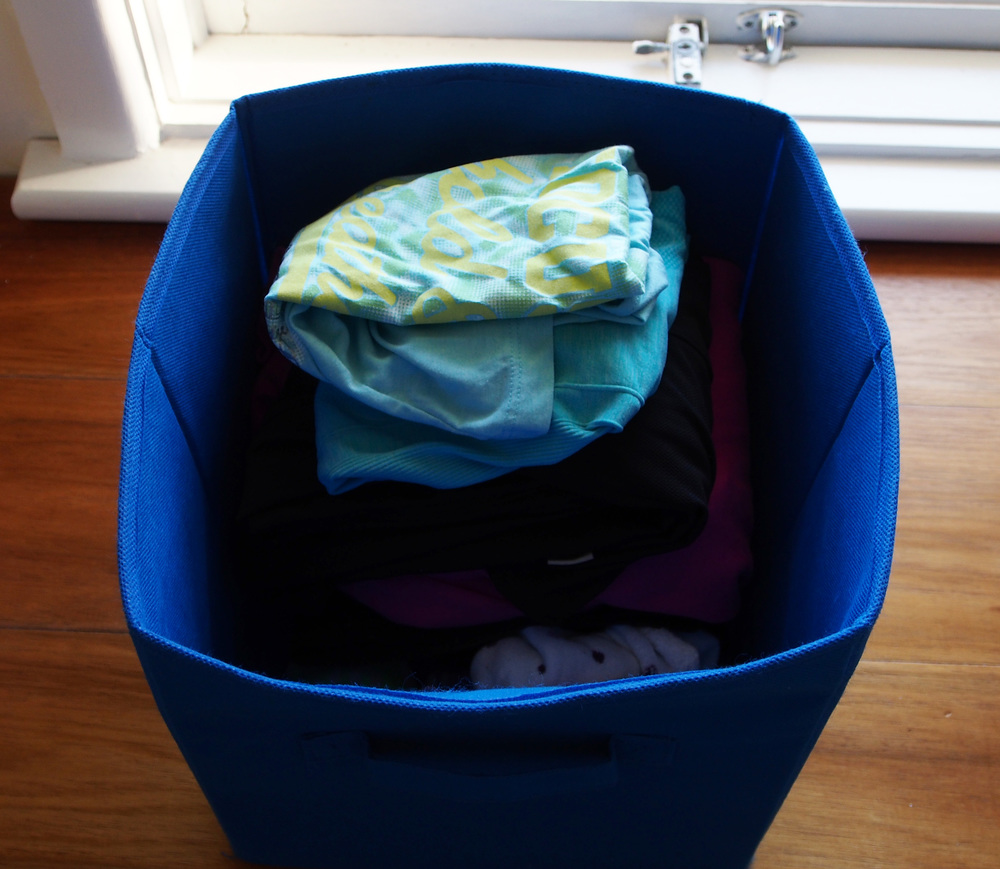 storage box for workout clothes