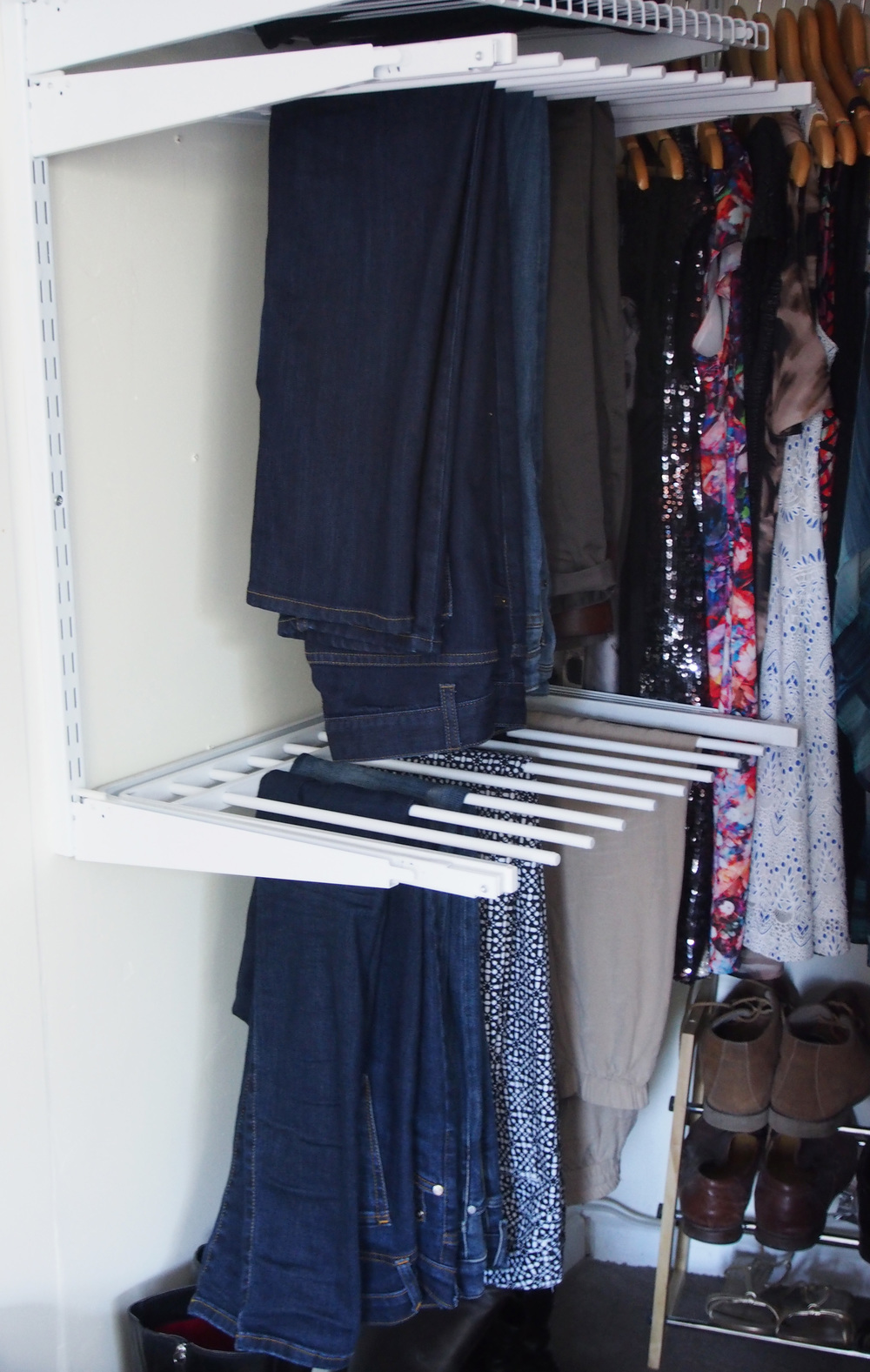 sliding pants rack