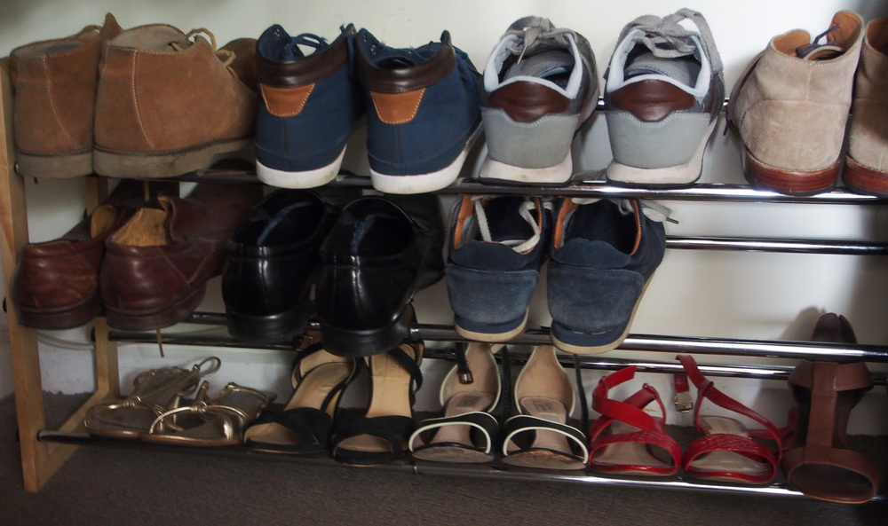 shoe rack in wardrobe