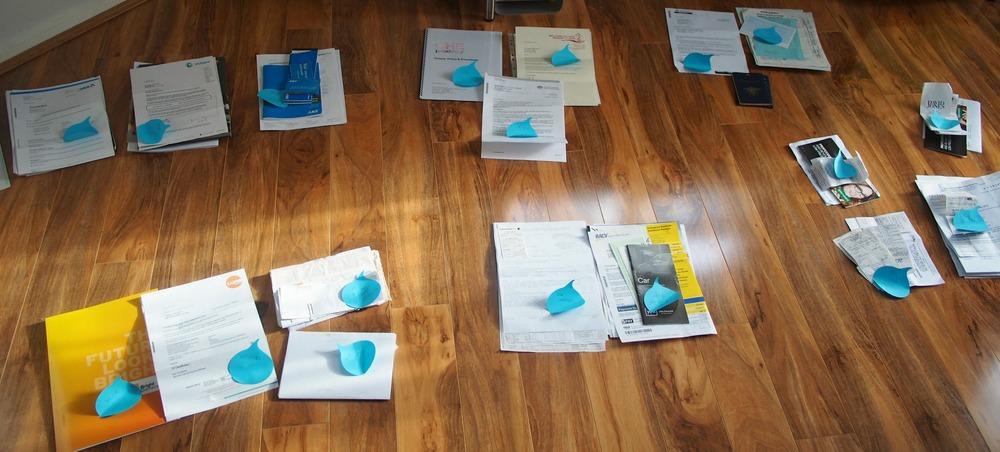 sorting paperwork in groups