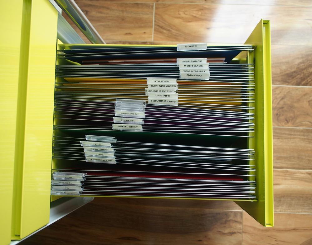 organised paperwork in filing cabinet