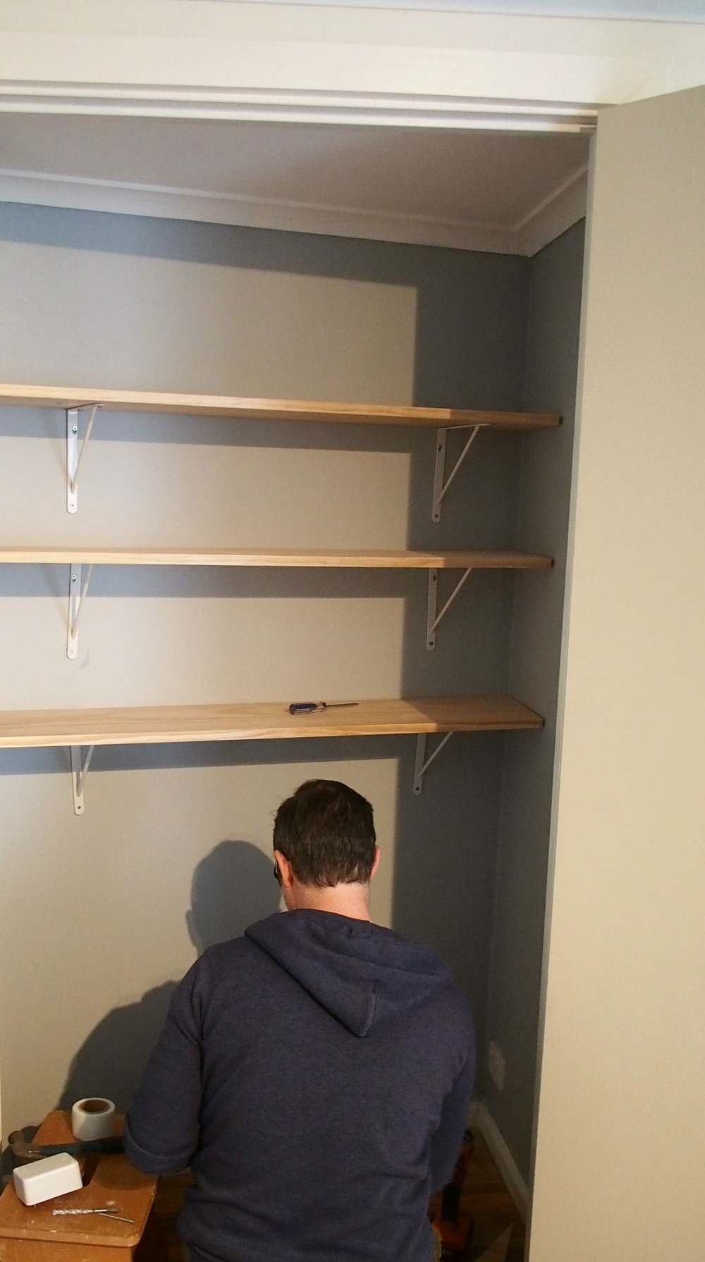 Shelving inside cupboard to increase storage
