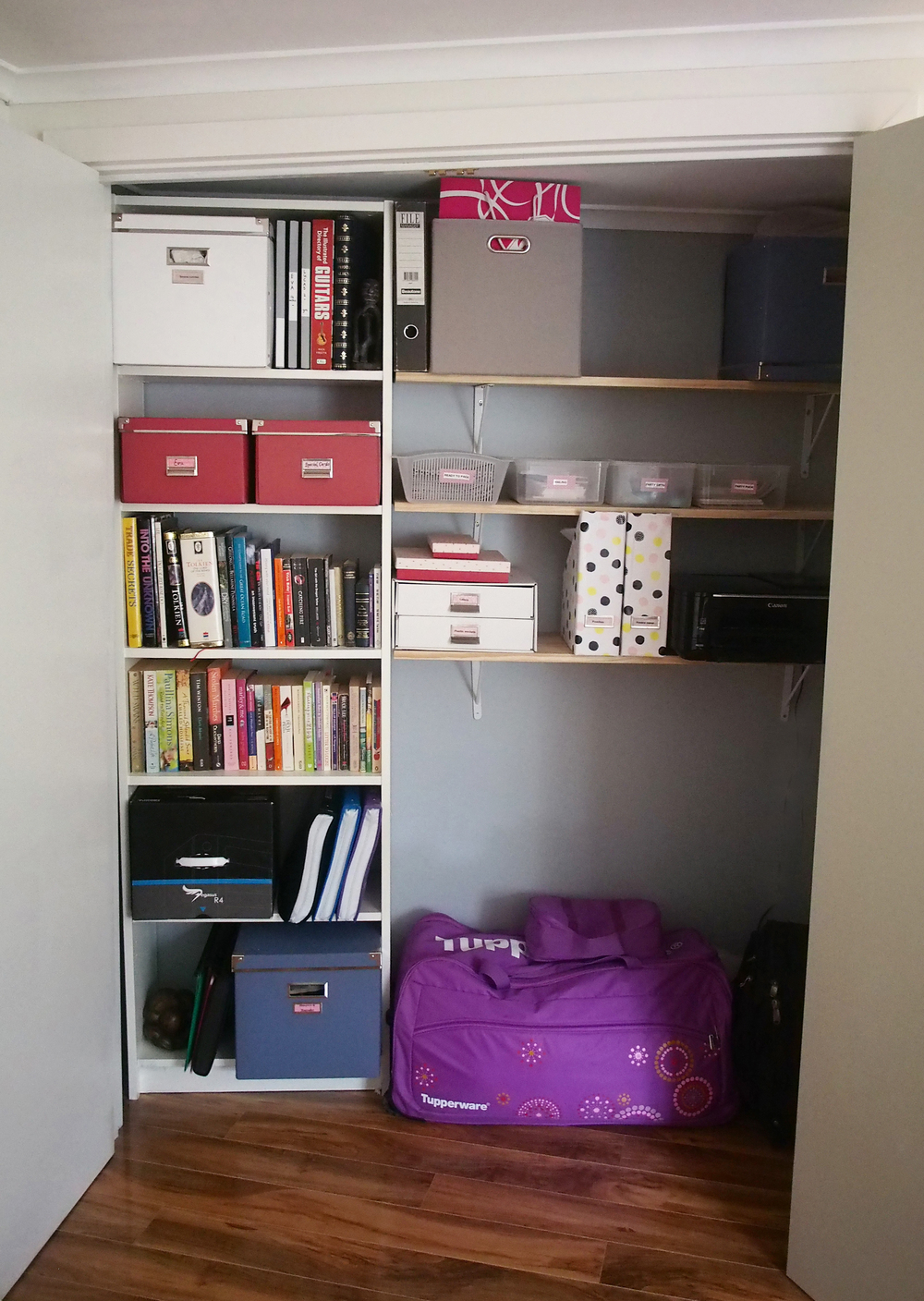 an organised storage cupboard