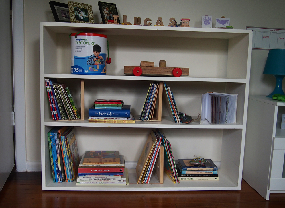 organised bookshelves