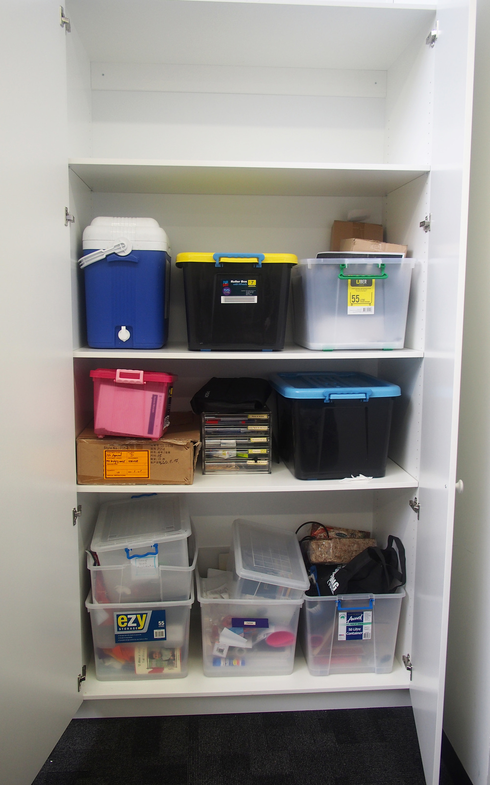 disorganised storage cupboard