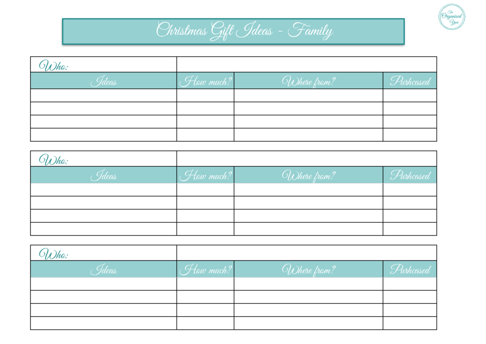 Christmas printables to get you organised at Christmas