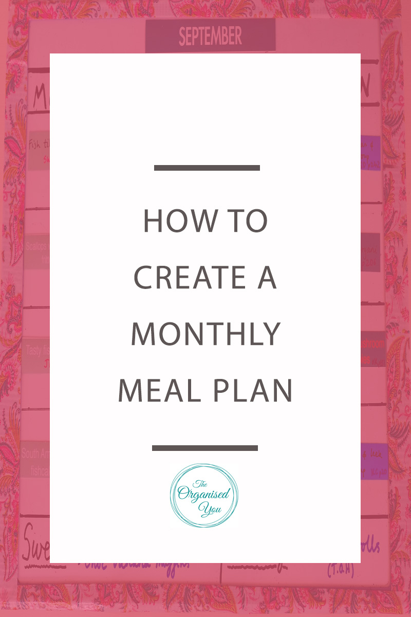 How to create a monthly meal plan - monthly meal planning will save you a huge amount of time and stress. This post is perfect for busy Mums who need tips for planning ahead for a month's worth of meals. Click to read the full post!
