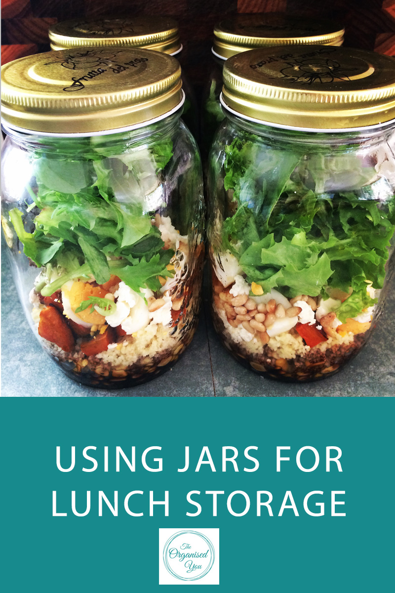 Using Jars for Lunch Storage - tips for storing your lunch in jars to make your salads last longer and have lunch pre-prepared for the week ahead. Click through to read the full post!