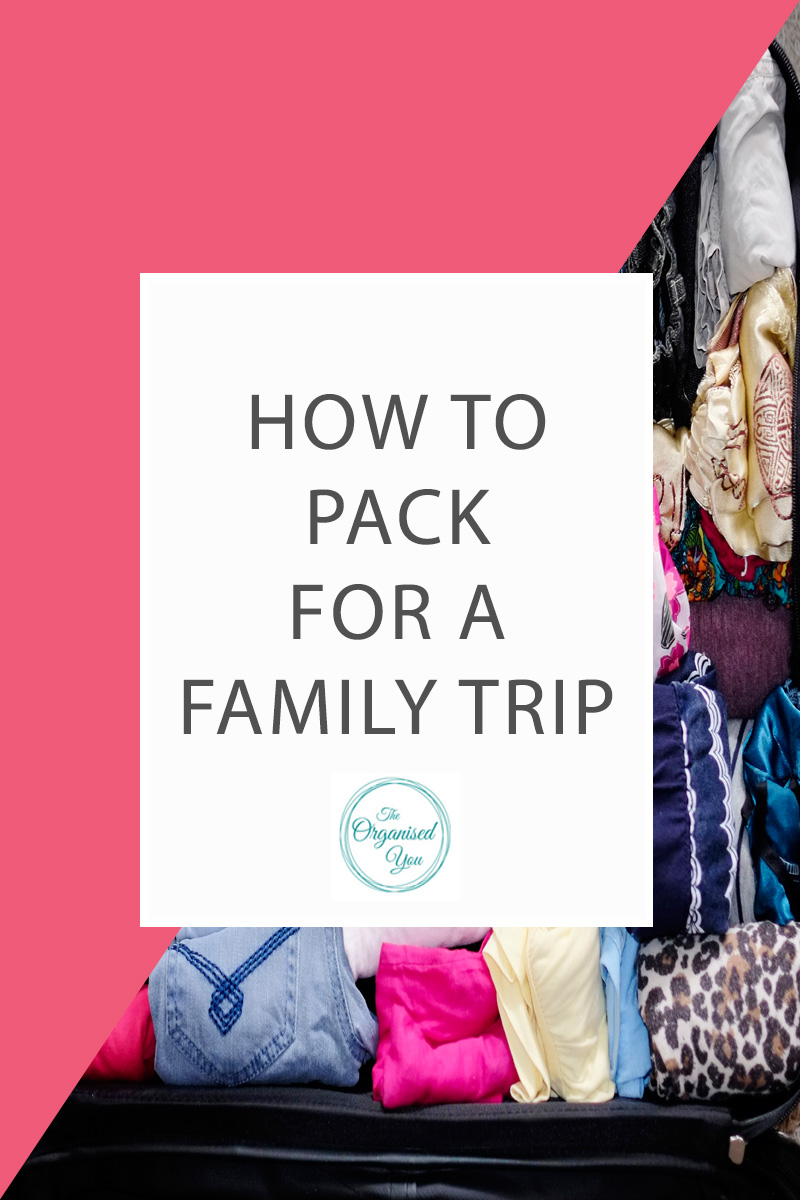 How to pack for a family trip - packing a suitcase can be a challenge in fitting everything in that you need, especially if you only have 1 suitcase between all family members! This step-by-step guide shows you how I packed a suitcase for 4 people using a few simple organised techniques!