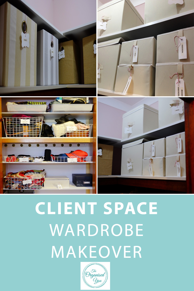 Client Space: Wardrobe Makeover - do you have a disorganised wardrobe? Clothes in piles, no storage solutions for your shoe collection, can never find what you're looking for, lacking space? This client makeover shows how I helped a client organise her wardrobe area and set up storage systems to ensure there was a place for everything. Click through to read the full post!