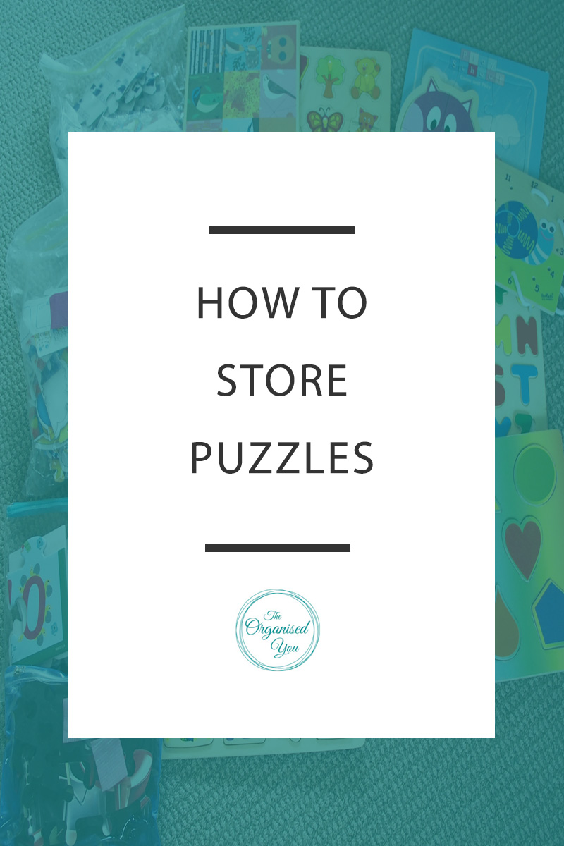 How to Store Kids' Puzzles - how do you store and organise your kids' puzzles? They can be tricky to organise as the boxes are bulky, pieces are easily lost, and they can take up quite a lot of room. This post shows you how I organised my kids' puzzle collection in a neat and organised way. Click through to read the full post!