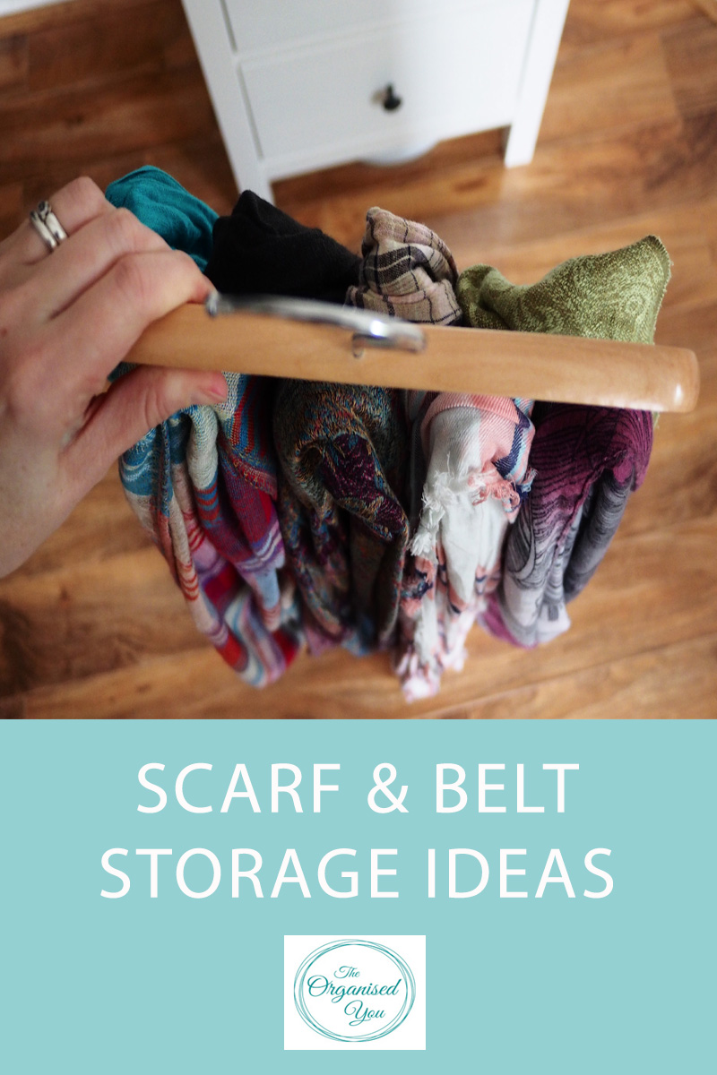 Scarf & Belt Storage Ideas - storing scarves and belts in a neat and organised manner in your wardrobe will save you so much time getting ready in the morning. Click through for some ideas and inspiration for storing and organising scarves and belts effectively, depending on your wardrobe storage space.