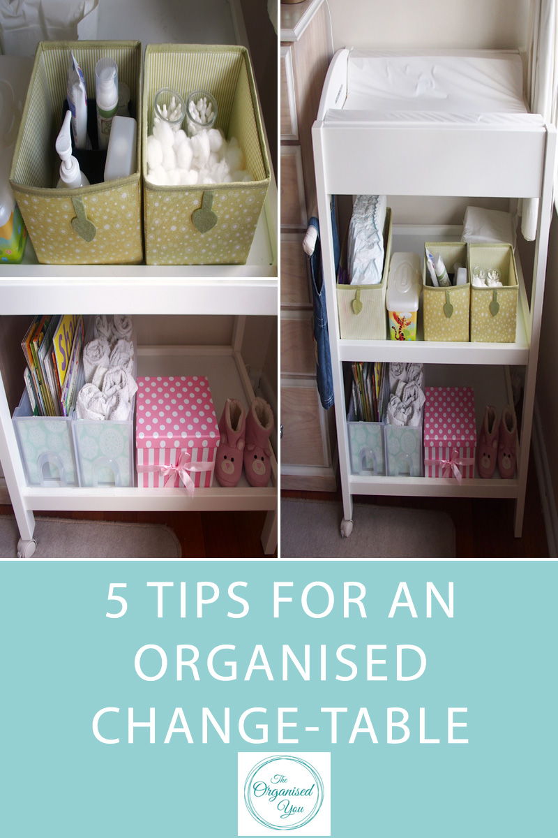 5 Tips for an Organised Change-Table - an organised change-table with great storage solutions and everything ready to go is an absolute necessity in a baby's nursery. This post shares the top 5 essentials for an organised and top-functioning change table that will make changing nappies a breeze! Click through to read the full post.